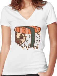 Puglie Sushi Women's Fitted V-Neck T-Shirt