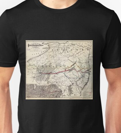 0382 Railroad Maps Map showing the Seaboard Pennsylvania and Western Railroad and its Unisex T-Shirt