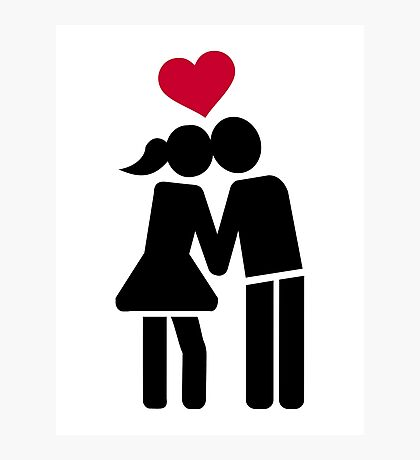 Kissing couple red heart Photographic Print