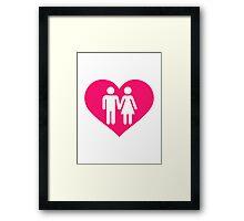 Couple pink heart Framed Print