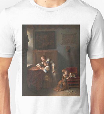 Caspar Netscher - A Lady Teaching A Child To Read Unisex T-Shirt