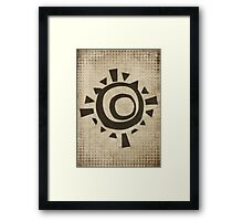 Misfits-Style Halftone Grunge Sun Icon Framed Print