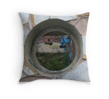 Into the building Throw Pillow