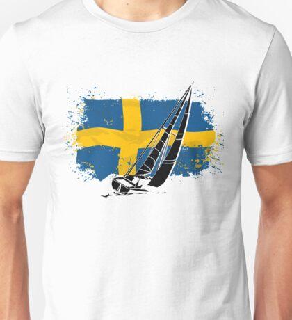 Sweden Flag & Sailingboat Unisex T-Shirt