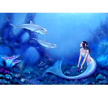 Ultramarine Mermaid & Dolphins Photographic Print