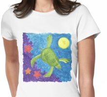 MARY'S HONU SEA TURTLE SWIMS DEEP Womens Fitted T-Shirt