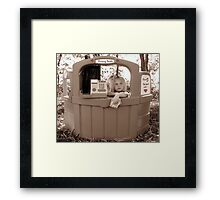 On Break At The Kissing Booth Framed Print