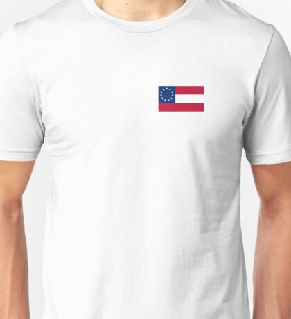 AMERICAN, Stars & Bars, USA, America, First American National Flag, 11 stars, 1861, on WHITE Unisex T-Shirt