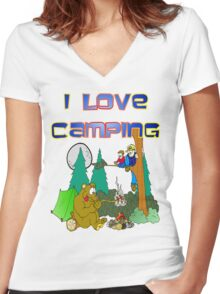 Camping Fun Women's Fitted V-Neck T-Shirt