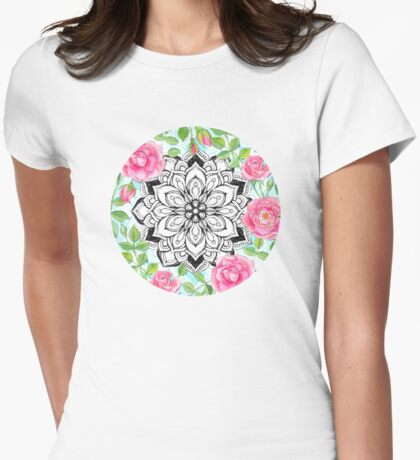 Pink Roses and Mandalas on Sky Blue Lace  Womens Fitted T-Shirt