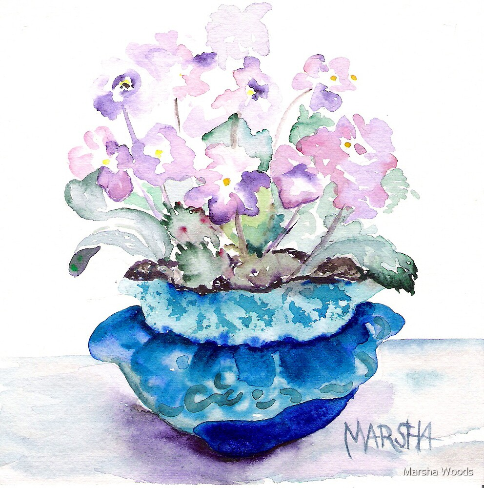 Pot o' Violets by Marsha Woods