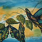 Watercolour: Butterflies on the Vine by Marion Chapman
