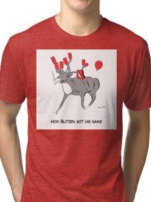 Blitzen the Christmas Reindeer Tri-blend T-Shirt