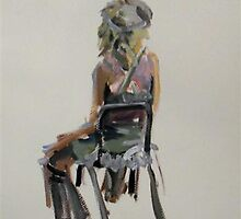 2007 Gouache Life Drawing Clothed Female Study by Simon Collins