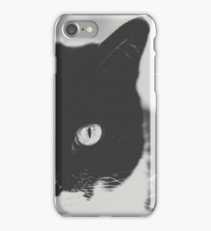 Portrait of a Cat in Black and White iPhone Case/Skin