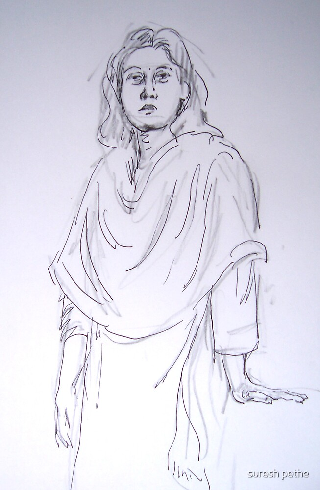 sketch of lady by suresh pethe