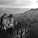 The Three Sisters Katoomba NSW in Black &amp; White by Ben Shaw