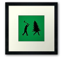 Funny Christmas tree is chased by Lumberjack / Run Forrest, Run! Framed Print