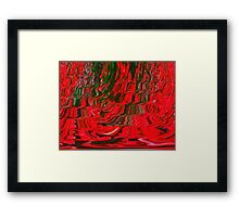 Red and Green Flowing Ribbon Design Pattern Holiday Christmas Framed Print