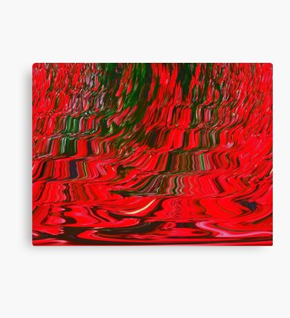 Red and Green Flowing Ribbon Design Pattern Holiday Christmas Canvas Print