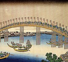 'Tenma Bridge' by Katsushika Hokusai (Reproduction) by Roz Abellera Art Gallery
