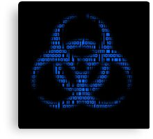 Binary Biohazard (Blue) Canvas Print
