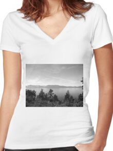 Black And White Landscape 9 Women's Fitted V-Neck T-Shirt