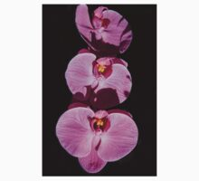 Three Orchids  One Piece - Long Sleeve