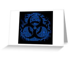 Binary Biohazard Symbol (Blue) Greeting Card