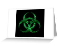 Binary Biohazard (Green) Greeting Card