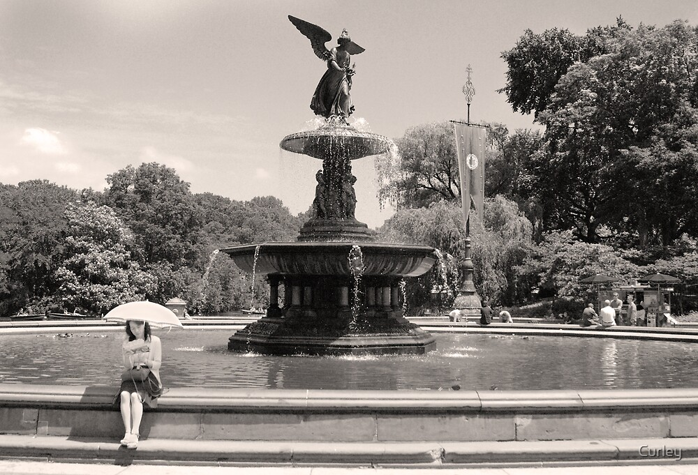 Umbrella and Fountain by Curley