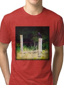 Rusty Barbed Wire Fence Tri-blend T-Shirt