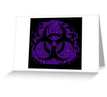 Binary Biohazard Symbol (Purple) Greeting Card
