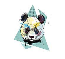 Geometric Watercolor Panda Bear Photographic Print