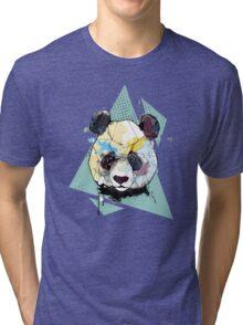 Geometric Watercolor Panda Bear Tri-blend T-Shirt