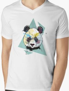 Geometric Watercolor Panda Bear Mens V-Neck T-Shirt