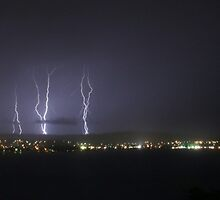 Lightning Over Victor Harbor - Panaroma by Stuart Daddow Photography
