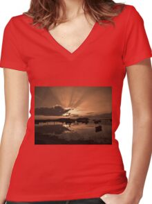 Boats in an amazing sunset Women's Fitted V-Neck T-Shirt