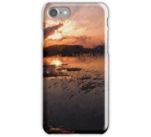 Boats in an amazing dramatic sunset iPhone Case/Skin