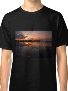 Boats in an amazing dramatic sunset Classic T-Shirt