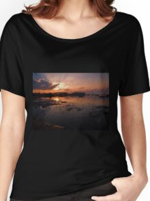 Boats in an amazing dramatic sunset Women's Relaxed Fit T-Shirt
