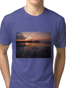Boats in an amazing dramatic sunset Tri-blend T-Shirt