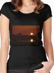 Boat in amazing sunset Women's Fitted Scoop T-Shirt