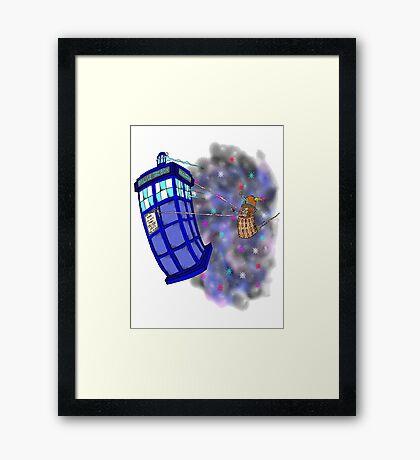 Dalek hitching a ride on the Tardis Framed Print