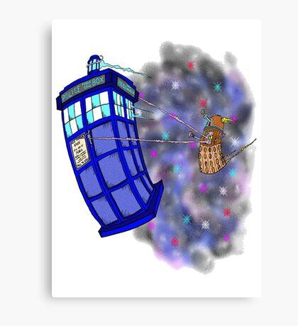 Dalek hitching a ride on the Tardis Canvas Print