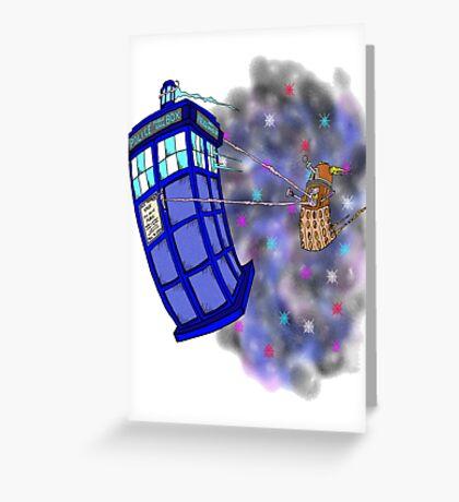 Dalek hitching a ride on the Tardis Greeting Card
