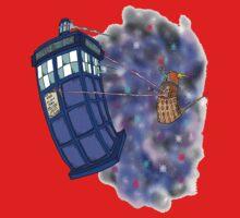 Dalek hitching a ride on the Tardis Kids Tee