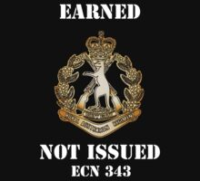 Earned Not Issued, gold badge, dark background T-Shirt