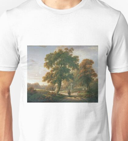 Charles Towne - Travellers At A Crossroads In A Wooded Landscape Unisex T-Shirt