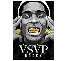 Gold Grills - ASAP Rocky Illustration Photographic Print